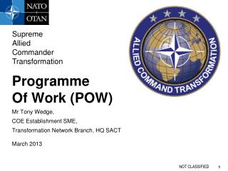 Programme Of Work POW Mr Tony Wedge,  COE Establishment SME,  Transformation Network Branch, HQ SACT March 2013