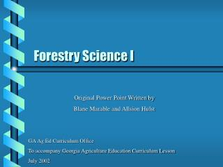 Forestry Science I