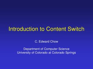 introduction to content switch
