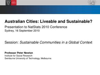 Australian Cities: Liveable and Sustainable