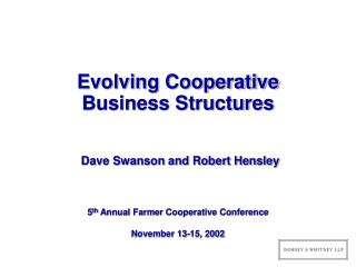 Evolving Cooperative Business Structures