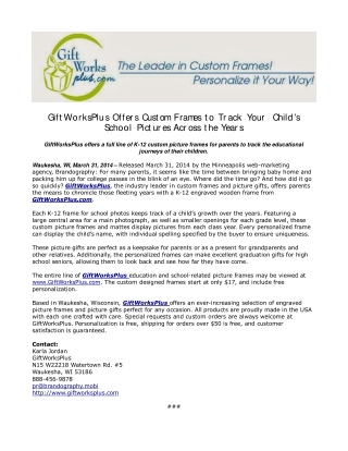 GiftWorksPlus Offers Custom Frames to Track Your Child