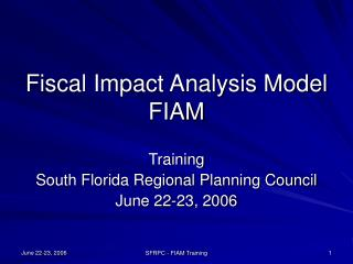 fiscal impact analysis model fiam