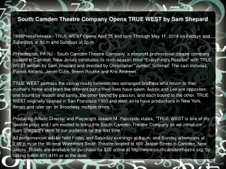 South Camden Theatre Company Opens TRUE WEST by Sam Shepard