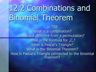 12.2 Combinations and Binomial Theorem