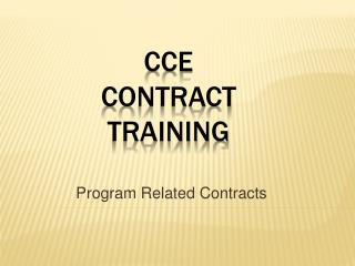 CCE Contract Training