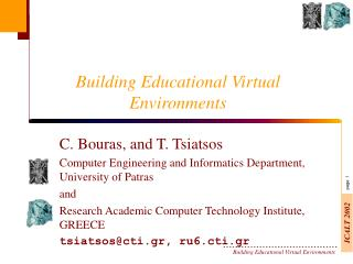 Building Educational Virtual Environments