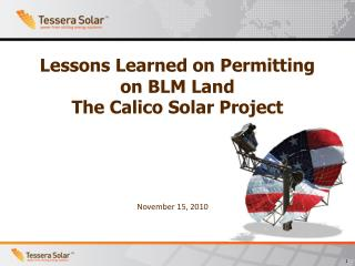 Lessons Learned on Permitting on BLM Land The Calico Solar Project