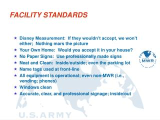 FACILITY STANDARDS