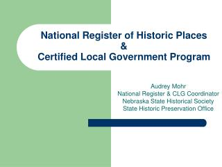 National Register of Historic Places   Certified Local Government Program