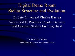 Digital Demo Room Stellar Structure and Evolution