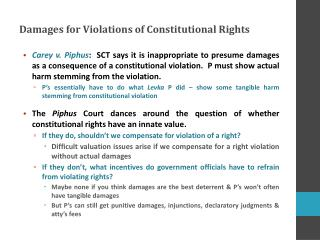 Damages for Violations of Constitutional Rights
