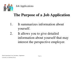 The Purpose of a Job Application
