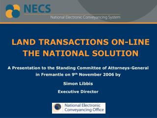 LAND TRANSACTIONS ON-LINE  THE NATIONAL SOLUTION