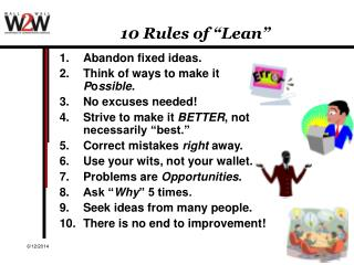10 Rules of  Lean