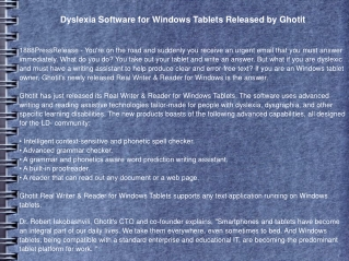 Dyslexia Software for Windows Tablets Released by Ghotit