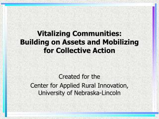 Vitalizing Communities: Building on Assets and Mobilizing  for Collective Action