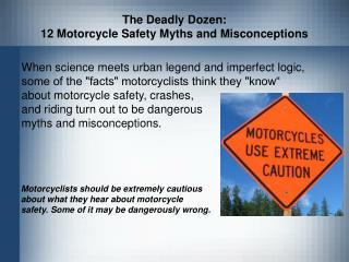 The Deadly Dozen:  12 Motorcycle Safety Myths and Misconceptions