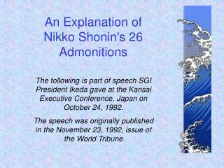The following is part of speech SGI President Ikeda gave at the Kansai Executive Conference, Japan on October 24, 1992.