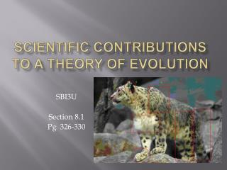 Scientific contributions to a theory of evolution
