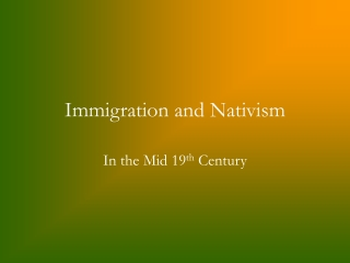 Scott Phinney - Immigration and Nativism