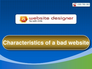 Characteristics of a bad website