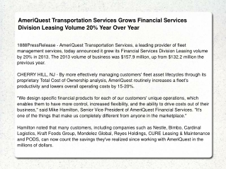 AmeriQuest Transportation Services Grows Financial Services
