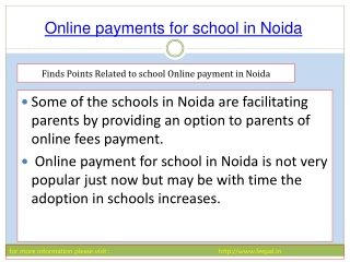 Basic instruction of   online payment for school in noida