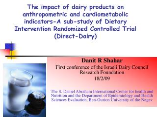 The impact of dairy products on anthropometric and cardiometabolic indicators-A sub-study of Dietary Intervention Random