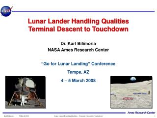Lunar Lander Handling Qualities Terminal Descent to Touchdown