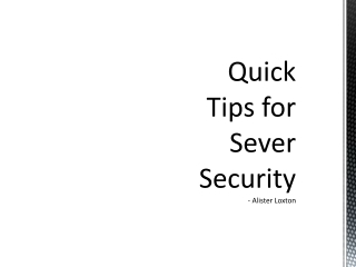 Quick Tips for Server Security