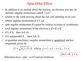 Spin-Orbit Effect