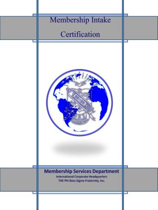 Membership Services Department International Corporate Headquarters THE Phi Beta Sigma Fraternity, Inc.