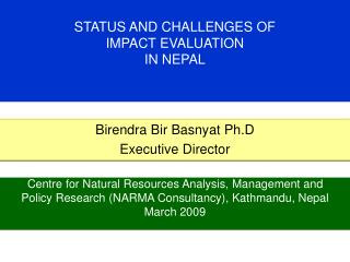 STATUS AND CHALLENGES OF  IMPACT EVALUATION  IN NEPAL