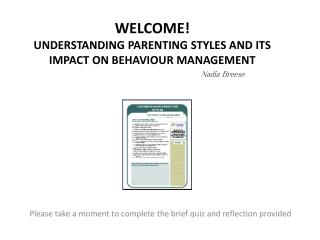 Welcome Understanding parenting styles and its impact on behaviour management
