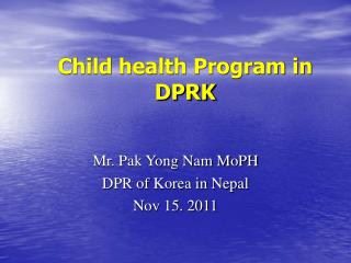 Child health Program in DPRK