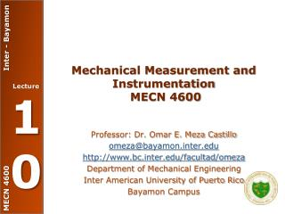 Mechanical Measurement and Instrumentation  MECN 4600