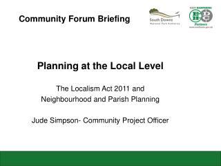 Community Forum Briefing