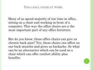 Why Should I Switch Office Chair With Yoga Ball Chair?