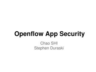 Openflow App Security