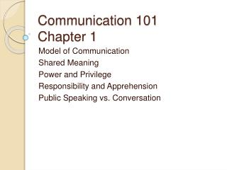 Communication 101 Chapter 1