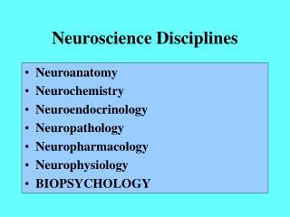 Neuroscience Disciplines