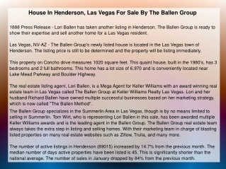 House In Henderson, Las Vegas For Sale By The Ballen Group