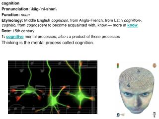 Cognition Pronunciation: k g-ni-shn  Function: noun  Etymology: Middle English cognicion, from Anglo-French, from Latin