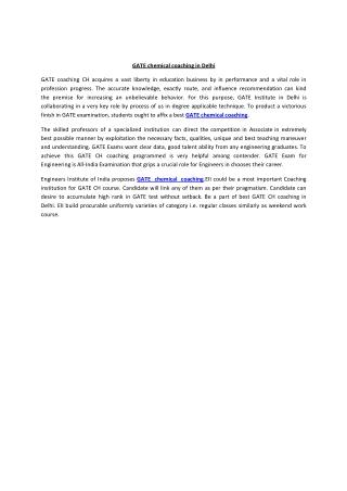 GATE chemical coaching