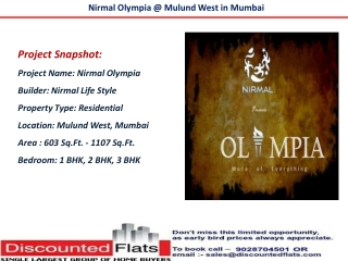 Nirmal Olympia Mulund West Mumbai New Launch by Nirmal Lifes