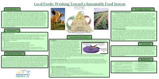 Local Foods: Working Toward a Sustainable Food System