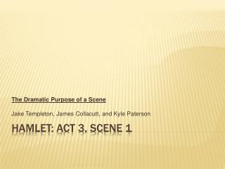 Hamlet: Act 3, Scene 1