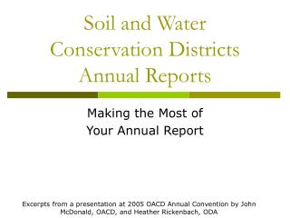 Soil and Water Conservation Districts Annual Reports
