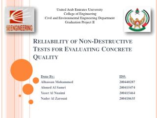 Reliability of Non-Destructive Tests for Evaluating Concrete Quality